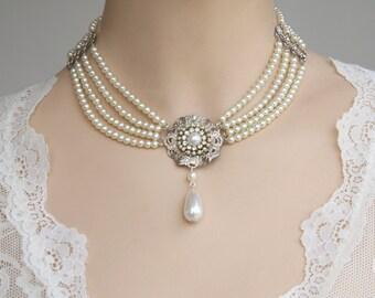 Bridal Pearls Choker - Silver Filigree Ivory Pearls Rhinestone Weddings Necklace Collier Israel Vintage Hollywood Style