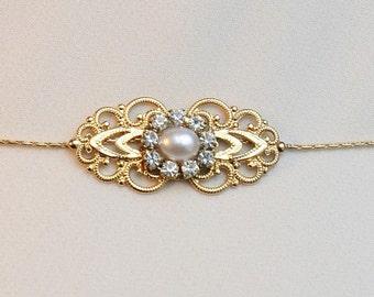 Gold Bridal Belt Sash Rhinestone Crystal Pearls Victorian Vintage Style Jewelry Wedding Dress Belt Accessory Unique Bridal Sash Chain