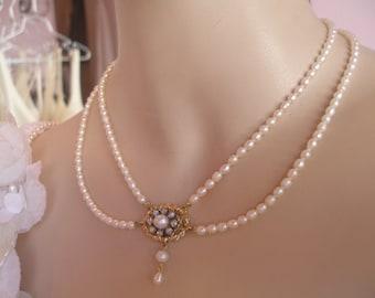 Wedding Necklace Victorian Pearl Necklace Genuine Pearls Two Row Bridal Necklace Pearl Wedding Necklace Rhinestone Flower Victorian Bridal