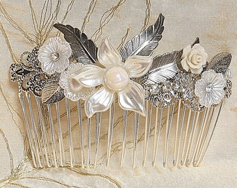 Bridal hair comb bridal Silver Jewelry Vintage Ivory Flowers Leafs and Pearls Wedding side Hair Piece crystal pearl wedding Headband