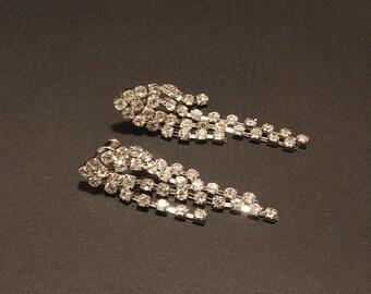 Bridal Rhinestone Earrings,The Great Gatsby Vintage Style Luxe Wedding Earrings,Rhinestone Chandelier,Silver Crystal Chandelier