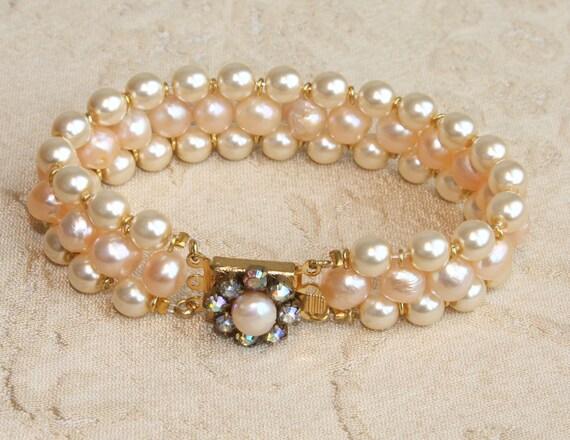 Pearl  Bridal Bracelet Pink Pearl Bracelet Cuff Wedding Bracelet Creamrose Pearls Bracelet Vintage Style Jewelry Cream Champagne Pearl