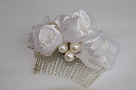 Wedding Bridal Bouquet Hair Comb,Silver Sterling ,Vintage Accessory, Jewelry, Pearls, Silk Flowers Head Piece, Headband, Side Tiara,