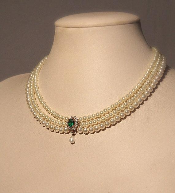 Bride Necklace Emerald Green Stone Vintage Bridal Pearls Necklace Statement Choker Pearls Wedding Choker Rhinestone  Zirconium Pearls Strand