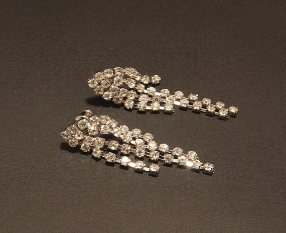 Bridal Rhinestone Earrings,The Great Gatsby Vintage Style Luxe Wedding Earrings,Rhinestone Chandelier,Silver Crystal Chandelier