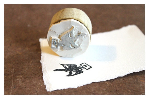 Hand carved Rubber Stamp Swallow - Large. Completely hand made.