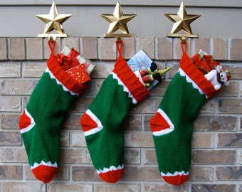 Knitted Christmas Stockings, red and green stocking, sock monkey stocking, hand knit stocking, green Christmas, stocking Christmas knit