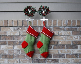 Hand knit Christmas Stocking, knit green stocking, green Christmas, knit red stocking, red stocking, knit stocking green, red and green