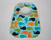 "Baby Bib, Robert Kaufman's ""Urban Zoologie Whales in Bermuda,"" backed with White Chenille"