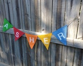 Primary Colors Custom Name Burlap Bunting Banner: Boy/Girl Photo Prop, Mantle Decor, Wall Decor (can customize colors)