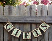 Gifts Banner Ivory, Brown and Seafoam Green: Gift Table, Wedding, Reception, Decoration, Gift Garland (can customize colors)