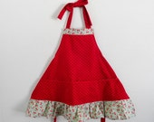 Girls Apron- Cherry Ruffle Childs Apron