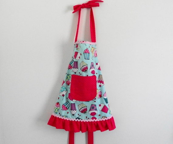 Girls Apron- Pink, Blue, and White Cupcakes