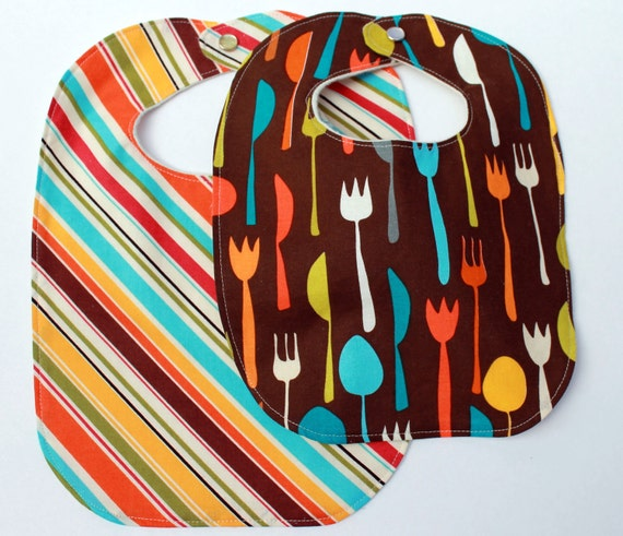 newborn baby bib.  fork, knife and spoon.  gender neutral.