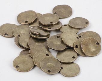 Antique Bronze 14mm Textured Disc - 25 count