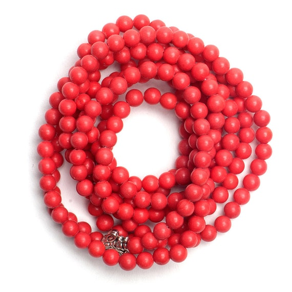 4 mm Coral Stone Beads - 2 Strands