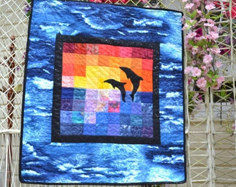 Quilted Wall hanging Ocean Tropical  Dolphin Sunset