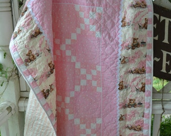 Handmade Baby Girl Quilt Tween Traditional Cottage Chic  Baby Shower Gift Pink and White and Brown Teddy Bear Irish Chain Quilt