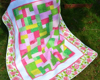 Handmade Twin Quilt Modern Contemporary  Hot Pink and Green Floral Patchwork Twin Single Bed Colorful Quilt