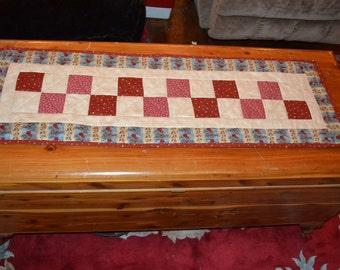 Handmade Quilted Runner Red Squares Traditional Americana Table Runner Table topper Placemat