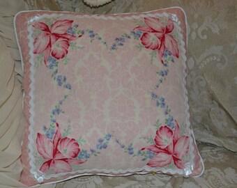 Handmade Pillow Pink Damask Floral Vintage Handkerchief Pillow