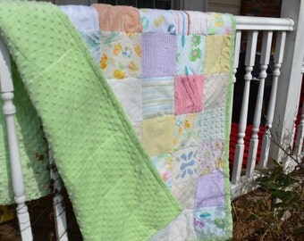 Handmade Quilt Baby Quilt Baby  Girl Boy Quilt Flannel Minkee Chenille Square Quilt