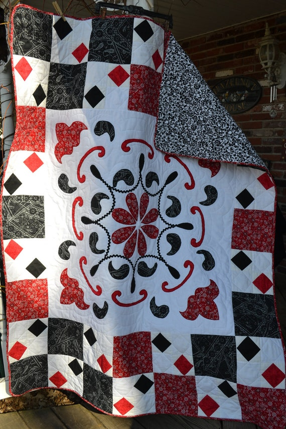 SALE Handmade Quilt Bandanna Print Black, Red and White Paisley Applique Quilt Tablecloth Picnic Quilt