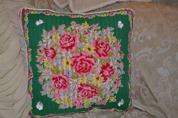 Handmade Pillow Red Rose Red and White Stripe Green Handkerchief Pillow
