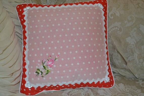 Handmade Pillow Red and White Polka Dot Single rose Vintage Handkerchief Pillow