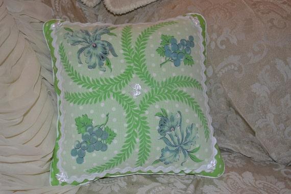 Handmade Pillow Lime Green Polka Dot Swirling Fern Iris Grape Vintage Handkerchief Pillow