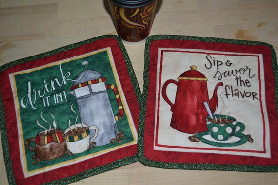 Pair of Coffee Mug Rug Savor the Flavor/Drink It In Coaster Table Toppers