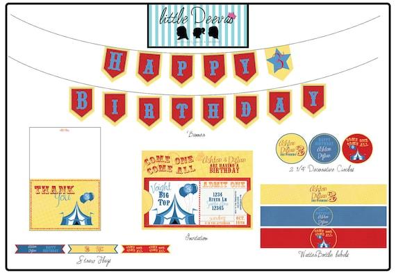 Carnival / Circus Birthday Invitation/Printable Package