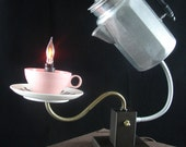Upcycled Percolator Coffee Pot Lamp Pink