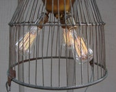 NOT AVAILABLE/Reserved for Erin  Upcycled Antique Wire Egg Basket Lighting Pendant