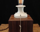 Upcycled Antique Porcelain Socket Lamp on Cherry Base with Edison Filament Bulb