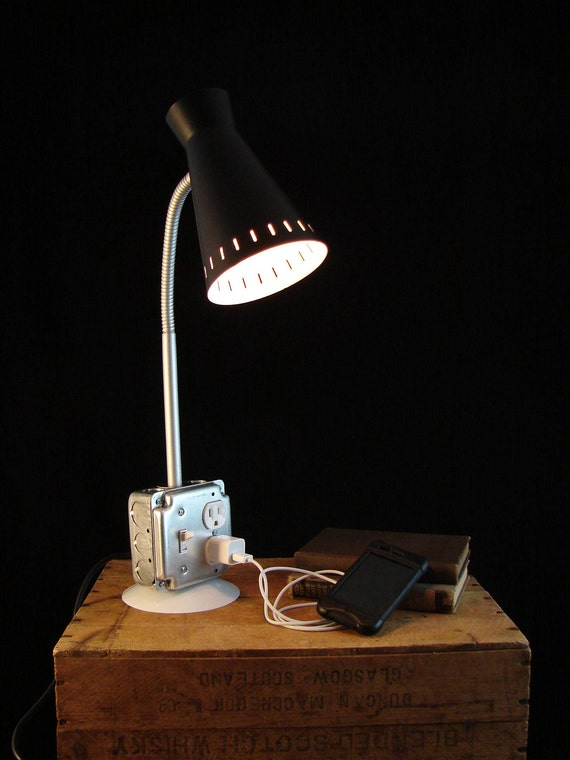 Upcycled Desk Lamp with Outlet for Phone Charging