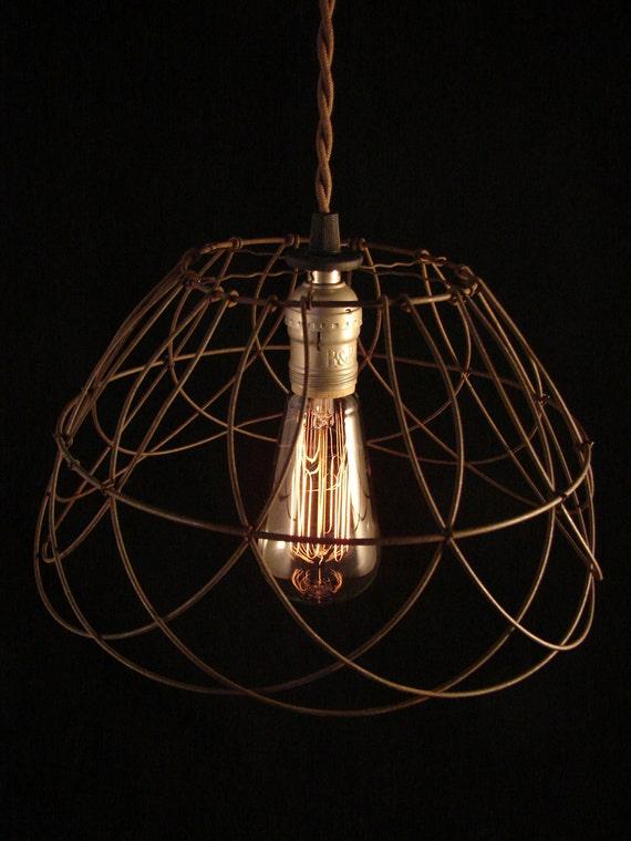 Upcycled Wire Basket Edison Pendant
