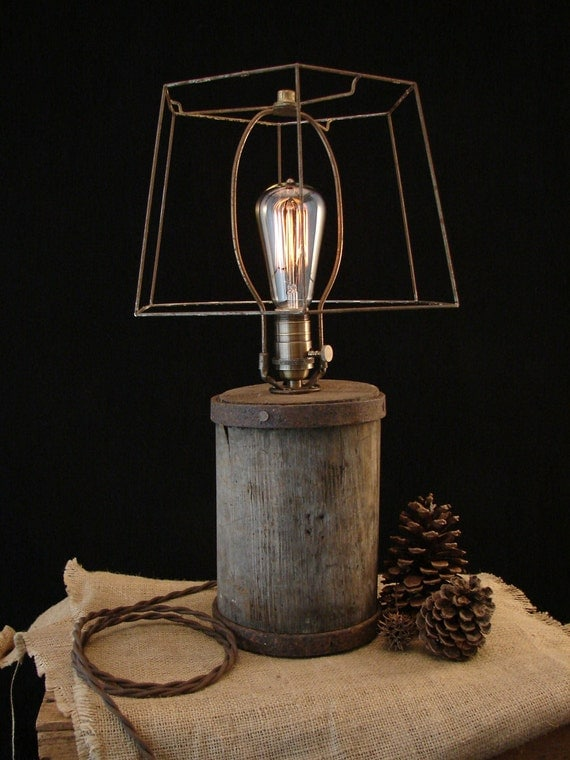 Deconstructed Wooden Barn Relic Lamp with Edison Bulb and Shade Frame