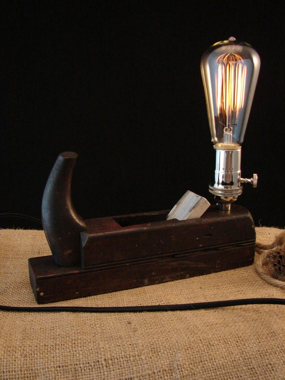 Upcycled Wood Plane with Chrome Socket and Edison Bulb