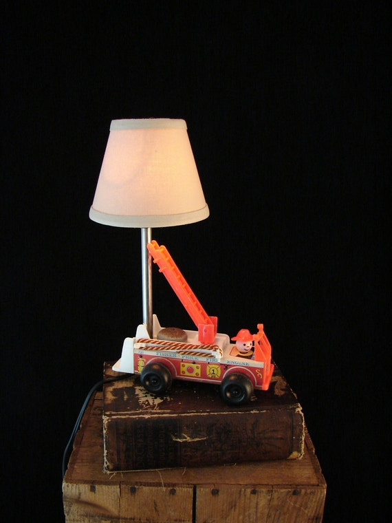 Upcycled Vintage Fisher Price Fire Truck Lamp
