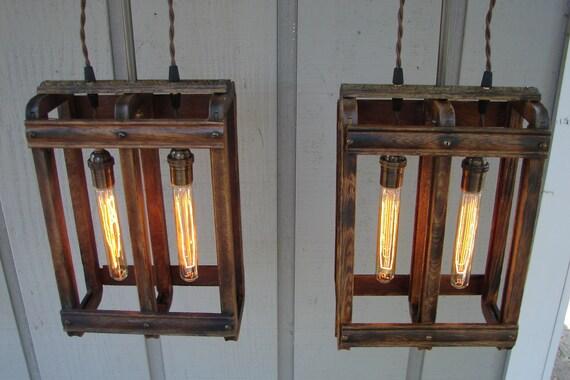 RESERVED for Jenn / Upcycled Antique Oak Drawer Frame Pendant Light