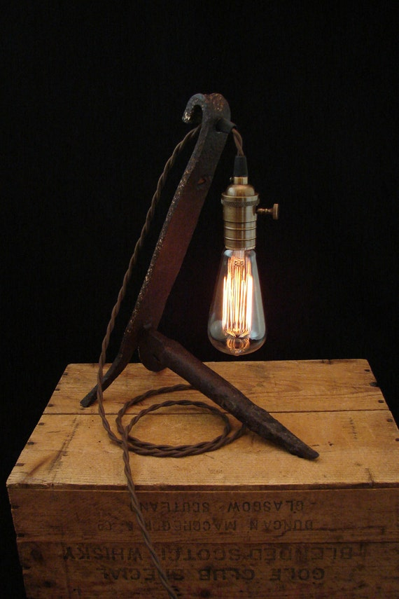 Upcycled Antique Rusty Andiron Lamp with Filament Bulb