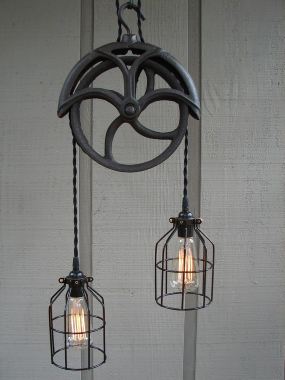 Reserved For Lisa Upcycled Vintage Well Pulley Pendant Light