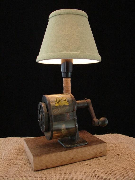 Upcycled Vintage GIANT Pencil Sharpener Lamp