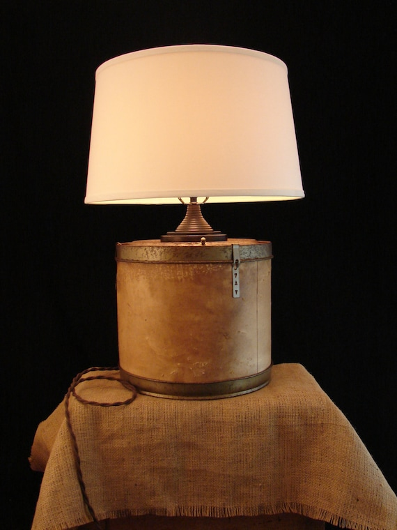 RESERVED for Rebeccca / Upcycled Vintage Industrial Container Lamp with Shade
