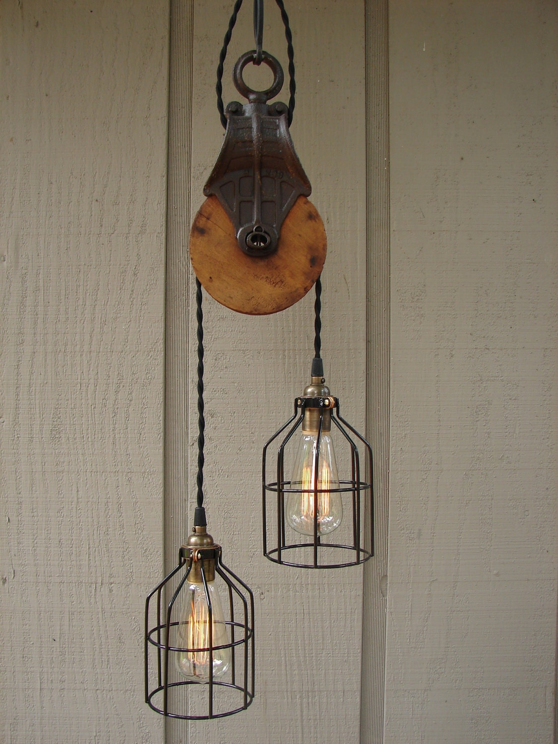 Upcycled Farm Pulley Lighting Pendant With Bulb Cages