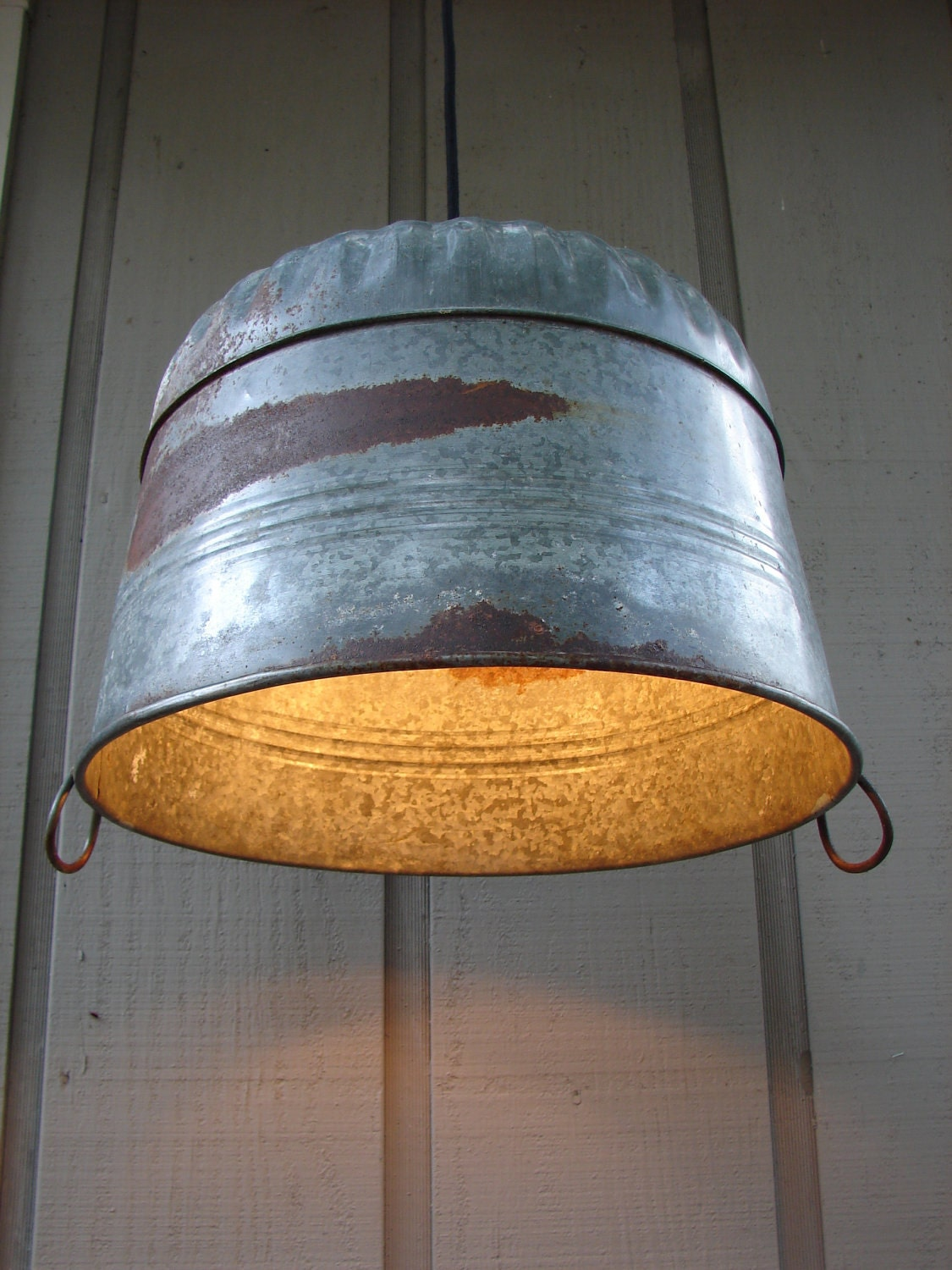 upcycled galvanized farm tub pendant light