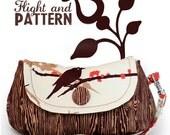 Bird and Wood Tiny Clutch/Wristlet