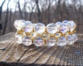 Crystal and gold chain maille bracelet