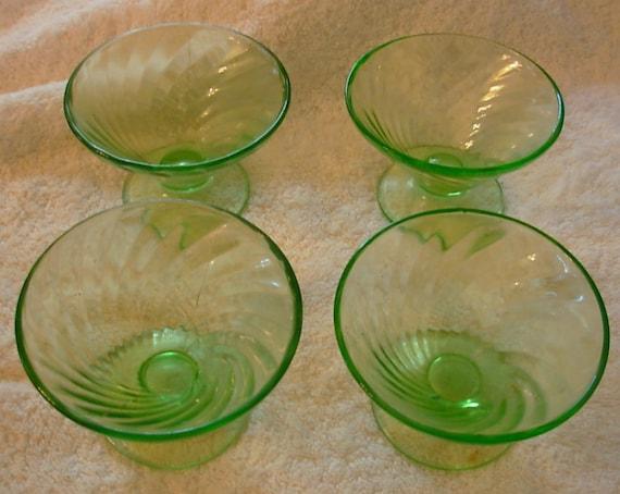 Green depression glass swirl bowls